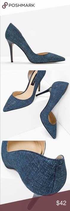 """CHAMBRAY PRINT SUEDE D'ORSAY HEELS CHAMBRAY PRINT SUEDE D'ORSAY HEELS Go into the deep blue with these chambray printed suede d'Orsay heels. Breathable lining; memory foam footbed Approx. 3.75"""" heel Leather; synthetic sole New and never worn. No original box. White House Black Market Shoes Heels"""