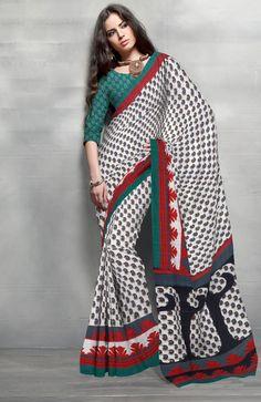 White & Green Butta Printed saree