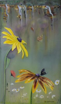 """oil painting """"chrysanthemum and butterfly"""""""