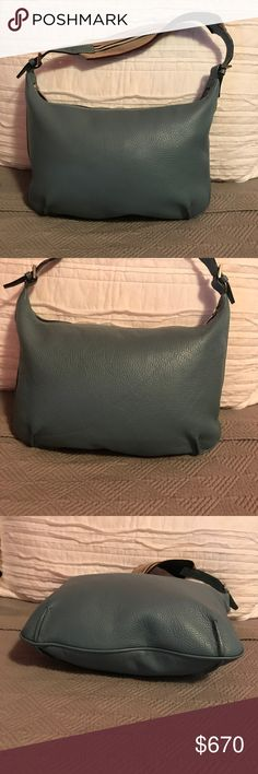 """🎉HP🎉 Burberry Hobo Limited Edition Authentic Limited Edition Burberry Hobo Sea Blue Leather with Canvas and Leather Tan, Navy and White Striped Shoulder Strap.  Approximate Size 14""""L x 1""""W x 10.5""""H and a 7"""" Strap.  Excellent Used Condition. Burberry Bags Hobos"""