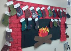 """A winter bulletin board idea... addition family stockings with the three numbers on the white part of the stockings and the equations on the colored part. Just need to think of words to go with it... Maybe """"First graders are warming up with fact families"""""""