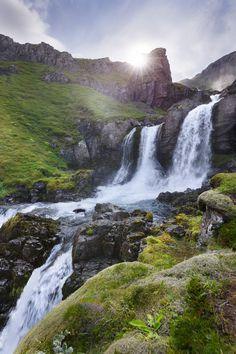 Klifbrekkufossar - Mjóifjörður, Iceland by Gernot Posselt on Iceland Travel, Famous Waterfalls, Beautiful Waterfalls, Beautiful Sky, Beautiful Places, Amazing Places, Places To Travel, Places To See, National Parks