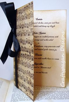 Vintage Style Music Notes Luxury Wedding Menu/Order of Service