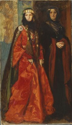 Edwin Austin Abbey: King Lear: Goneril and Regan (Act I, Scene i), 1902. Yale University Art Gallery, New Haven CT. #oil #Academicism #Abbey