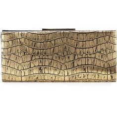 Badgley Mischka Collection Joyce Metallic Crocodile-Embossed Evening... (11,580 MKD) ❤ liked on Polyvore featuring bags, handbags, clutches, gold, snake handbag, special occasion handbags, metallic handbags, brown crocodile handbag and crocodile handbag