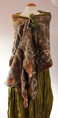 Beige tan grey taupe green cream nuno felted wool & silk shawl - OOAK Artsy lagenlook by Angelab5705