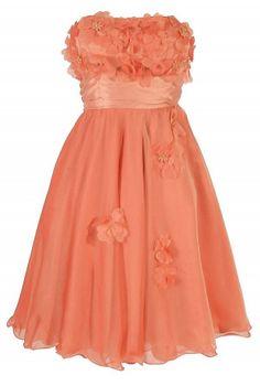 Floral Applique Strapless Chiffon Dress in Orange