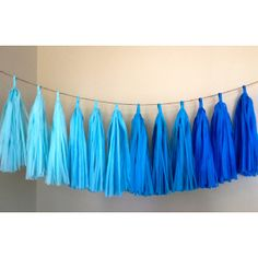 Blue Ombre ... tissue paper tassel garland // nursery // weddings // birthdays // party decorations ($30) found on Polyvore