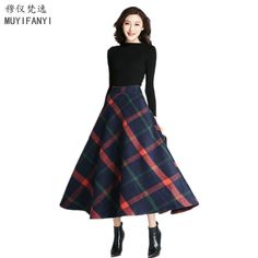 39df91059e4f 2018 Autumn Winter Vintage Wool Skirt Womens Plaid Casual A-Line High Waist  Swing Maxi Long Skirts