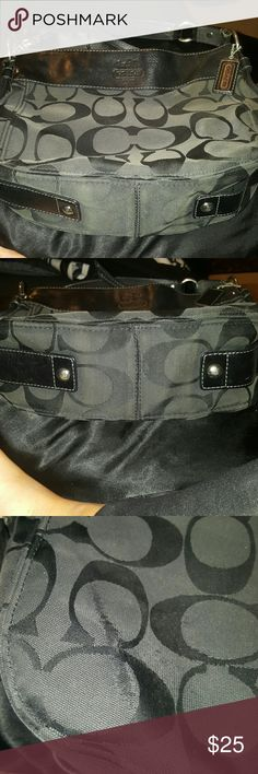 Coach black monogram handbag 100% authentic coach handbag Extremely loved Please notice wear in picture. Located on back  Sent to coach and it can not be repaired Single strap Monogram and leather-black Coach Bags Shoulder Bags
