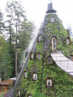 It's a hispanic hobbit hole! Montana Magica Lodge in the middle of a forest, Chile.