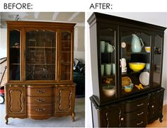 Makeover thrift furniture ~ I have an old Mediterranean China Cabinet in my Craft Room full of decorative painting.  It would look so great made-over like this one!  Hmmmmm.....