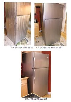 This is the stuff I was talking about! Might be worth trying! Kitchen Redo, Kitchen Remodel, Painting Appliances, Refrigerator Makeover, Fixer Upper, Decoration, Interior Design Living Room, Home Projects, Home And Living