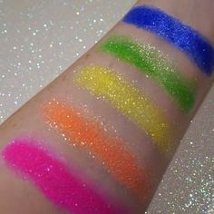 Holy neon! We love these swatches of our Elektrocutes!  (L-R) Love Buzz, Sugarcharged, Hi-Viz, Sparkage, Hellatronic