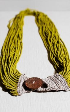 cool DIY Bijoux - great example of using traditional approaches & matterials at hand.  Crochet clo...