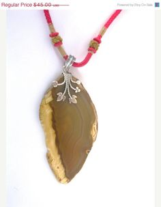 10 Off Brown Agate Red Cord Sterling by BEADEDNECKLACESHOPPE, $40.50#gifts for her
