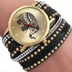 Black Elephant Watch NWOT Black elephant watch. The watch has rhinestones and wraps around the wrist. It has snap buckle closures and can be adjusted.                      Other colors also available Accessories Watches