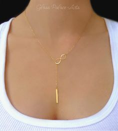 Vertical Bar Lariat Necklace - Y Necklace - 14k Gold or Sterling Silver