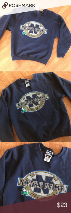 vintage   navy blue NOTRE DAME UNIVERSITY crewneck Vintage dark navy blue NOTRE DAME UNIVERSITY crewneck pullover sweatshirt  Size medium — can probably fit a small/medium Good condition — is a bit faded from normal wear & wash — no other defects. Comfortable and warm, still has a lot of life left to It!   #notredame #fighting #irish #university #college #crewneck #vintage #vtg #pullover #christmas -#shopping #blackfriday #cybermonday #sale #present #gift Vintage Tops Sweatshirts & Hoodies