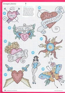 Tattoo cross stitch 2 of 3 Many hearts. Instead of a tattoo on your delicate flesh cross stitch a heart themed project for St Valentine day