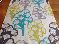 "VILLA NOVA curtain fabric ""Star Fruit"" VTG retro style seed head leaf remnant 