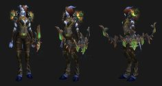 """Mail Transmog - """"Ghostworld"""" - Male and Female Draenei; Shoulders:  Observer's Mantle ; Chest:  Ghostworld Chestguard; Hands:  Chain Gloves of the Quarry; Waist: Vicious Gladiator's Links of Cruelty; Legs:  Swiftarrow Leggings;  Feet: Treads of Flawless Creation; Main-Hand: Fang Kung, Spark of the Titans."""