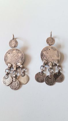 Vintage Berber coins with danglers stamped silver door tribalgallery