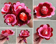 Sucker Flowers Valentine MATERIALS: Suckers Glitter Hearts (I found mine at the dollar store but they are usually at any craft store as well) Hot Glue and glue gun Directions: Simply begin by hot glueing on your hearts around the bottom of the sucker (glue to the bottom of the paper just above the stem, continue all the way around the sucker, next add another layer of hearts around the first layer. You can also add some green tissue to the bottom of them to give it a little extra. That is…