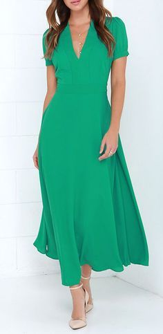 Take a Twirl Green Midi Dress