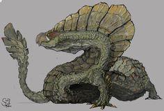 Najarala/Gararaajara - Monster Hunter Fanart Najarala, the Wing Snake Wyvern Alien Creatures, Fantasy Creatures, Mythical Creatures, Monster Hunter Series, Monster Hunter Art, Creature Feature, Creature Design, Aliens, Beast Creature