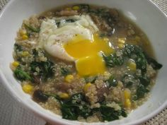 Quinoa Soup w/ Spinach & Corn, Topped w/ a Poached Egg