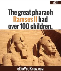 The great pharaoh Ramses II had over 100 children. http://edidyouknow.com/did-you-know-711/