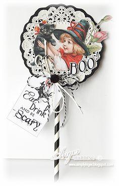 """B O O"" lollipop card, by Inger Harding."