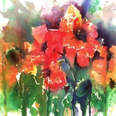 Oh Poppy Talk, Brusho painting by Colleen Reynolds