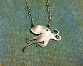 Octopus necklace. Oxidized Octo-Pi. Silver Octopus. Ocean Jewelry