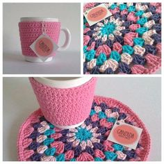taza cerámica abrigadita con funda crochet lisa y posa taza cerámica abrigadita con funda crochet lisa y posa Crochet Mug Cozy, Crochet Home, Love Crochet, Crochet Gifts, Diy Crochet, Crochet Ideas, Crochet Motifs, Crochet Stitches, Crochet Patterns