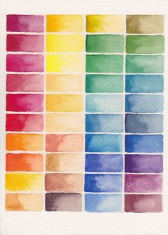 Abstract Watercolor Palette . Colorblocks . Full Spectrum Color Block Painting . Rainbow . 5 x 7 Print