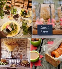 Autumn entertaining ideas. Love the crate addition and the apple sticks and label that looks like chalk