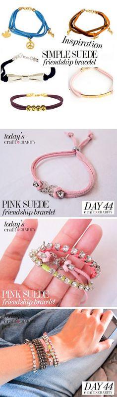 Day 44 - Friendship Bracelet with Rhinestones ( Pink )