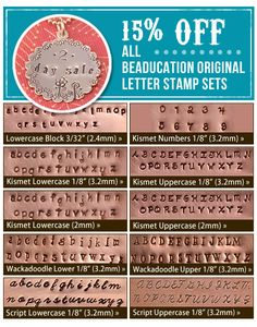 Jewelry Making Classes Online at Beaducation: The Blog: 15% off All Beaducation Original Letter Stamp Sets....2 DAYS ONLY!