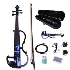 New 2015 Blue Sound 4/4 Electric Violin + Rosin + Bow+Case+ Earphone+ Battery #Unbranded