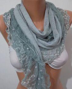 Grey Shawl/Scarf with Lace by ElegantScarfStore on Etsy,