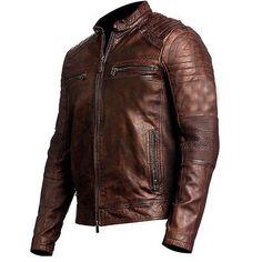 Mens Vintage Biker Motorcycle Distressed Brown Cafe Racer Genuine Leather Jacket, vintage jacket, vintage leather jacket for men Distressed Leather Jacket, Men's Leather Jacket, Biker Leather, Leather Men, Leather Jackets, Real Leather, Sheep Leather, Cowhide Leather, Motorcycle Leather