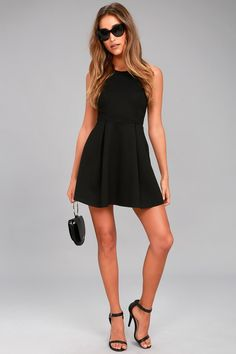 f31526b7735b Cutout and About Black Skater Dress. Lulus. Black Pumps OutfitCute ...