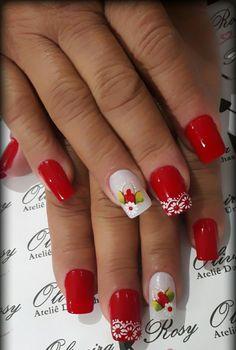 Nails Design Red 2017 39 New Ideas Red Gel Nails, Hot Nails, Hawaiian Nails, Red Nail Designs, Flower Nail Art, French Tip Nails, Cute Nail Art, Winter Nails, Natural Nails