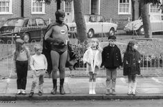 Batman helps children cross the road. American actor Adam West, as Batman, making a road safety film with a group of child actors in Kensington, London. Original Publication: People Disc - (Photo by Keystone/Getty Images) Getty Images Kung Fu, Adam West Batman, Batman Tv Show, Real Batman, Kids Batman, Batman Vs, Superman, Nananana Batman, Retro