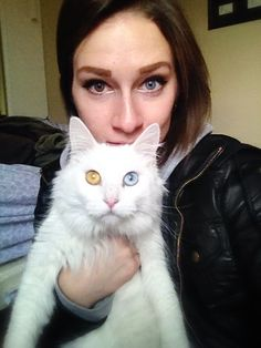 Pretty Girl & Cat With Stunning Heterochromia Eye Colors