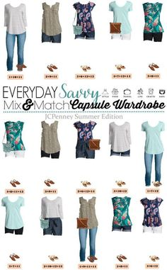 Check out this JCPenney Summer Outfits Mini Capsule wardrobe. This capsule is fun and easy to wear. I am loving the bright colors and patterns of these JCPenney summer outfits. You will look great at most any occasion from hanging out with the kids at the Cute Summer Outfits, Cool Outfits, Spring Outfits, Casual Outfits, Night Outfits, Looks Plus Size, Look Plus, Tween Fashion, Fashion Outfits