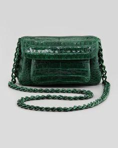Nancy Gonzalez Crocodile Compartmentalized Flap Crossbody Bag, Green - Bergdorf Goodman