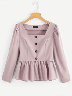 Shop Square Neck Button Up Peplum Top online. SHEIN offers Square Neck Button Up Peplum Top & more to fit your fashionable needs. Pink Fashion, Hijab Fashion, Fashion Dresses, Womens Fashion, Girl Outfits, Casual Outfits, Cute Outfits, Blouse Styles, Blouse Designs